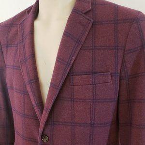 men's red blue plaid soft sport coat Tasso Elba L